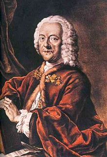 Georg Philipp Telemann (1681–1767), hand-colored aquatint by Valentin Daniel Preisler, after a lost painting by Louis Michael Schneider, 1750.