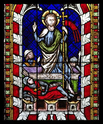English: Gothic stained glass window depiction...