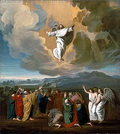 Jesus' ascension to heaven depicted by John Singleton Copley, 1775