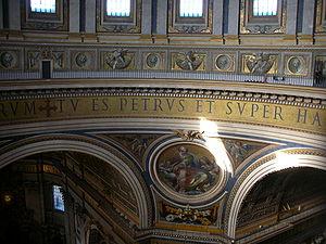 "Mosaico con la scritta ""Tu es Petrus et s..."
