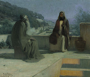 English: Nicodemus and Jesus on a rooftop
