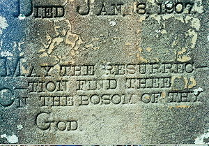 Headstone in a small family cemetery, located ...