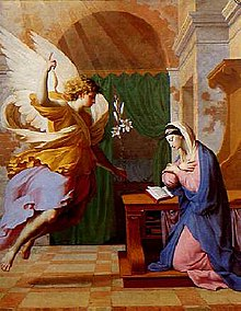 The Annunciation by Eustache Le Sueur, an example of 17th-century Marian art. The Angel Gabriel announces to Mary her pregnancy with Jesus