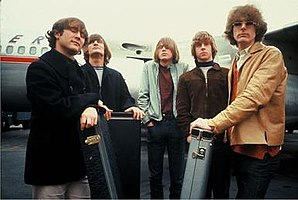 The Byrds in 1965. From left to right: David Crosby, Gene Clark, Michael Clarke, Chris Hillman, and Jim McGuinn.